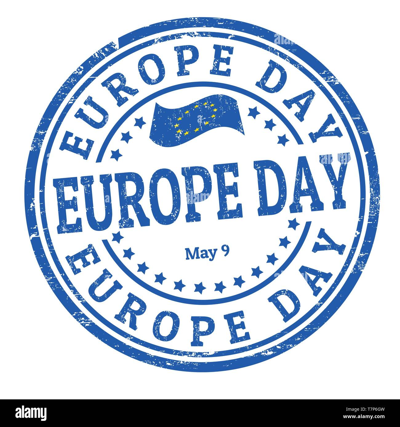 Europe day sign or stamp on white background, vector illustration - Stock Image