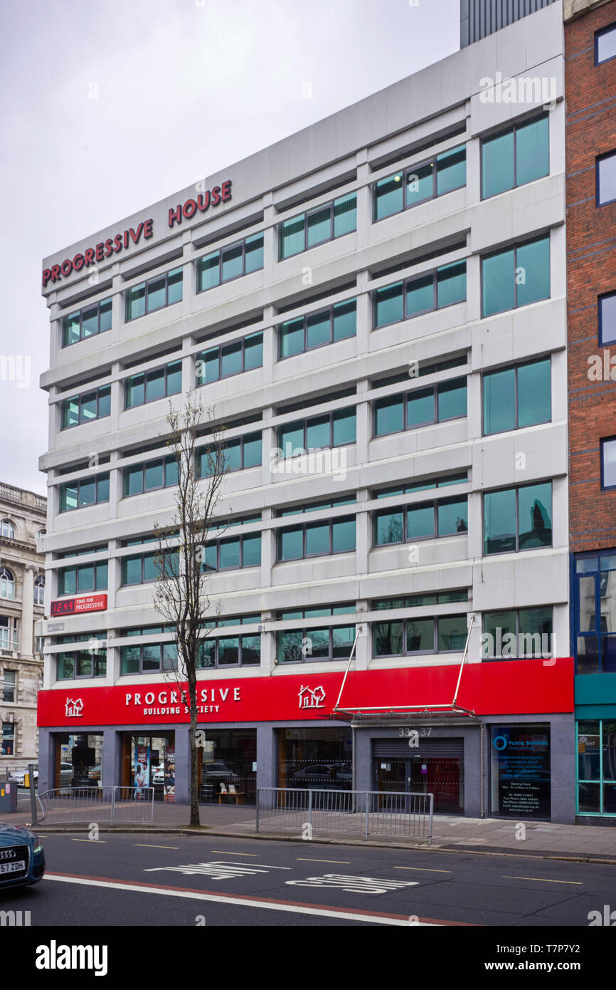 Progressive Building Society office building in the centre of Belfast, Northern Ireland - Stock Image