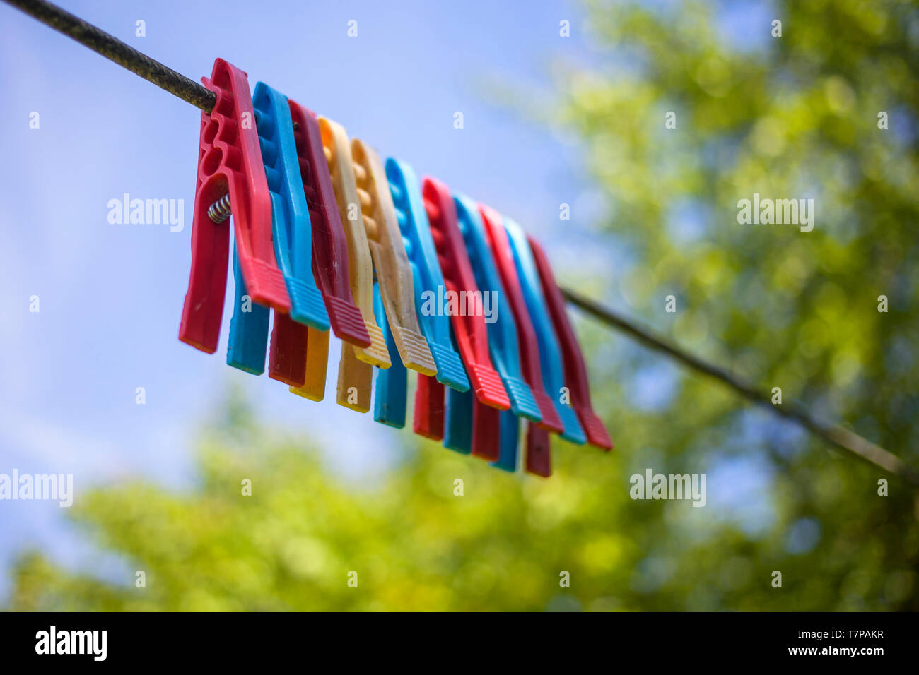 Row of colorful pegs on a line against a blue sky Stock Photo