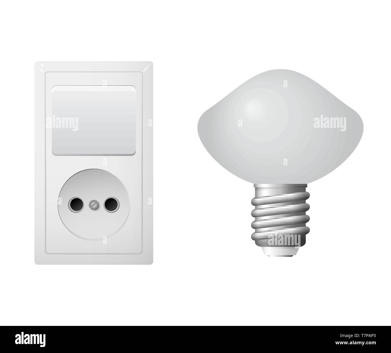 Outlet with plug, lightbulb. Set of electrical equipment. Vector illustration - Stock Vector