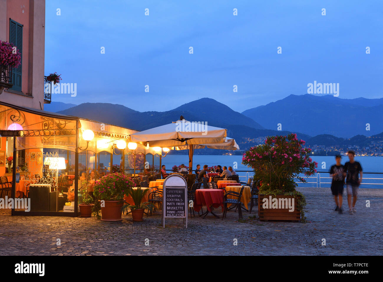 Italy, Lombardy, Iseo lake (Il Lago d'Iseo), Pisogne port - Stock Image