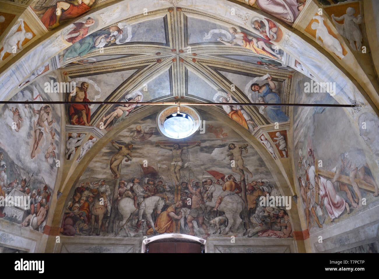 Italy, Lombardy, Iseo lake (Il Lago d'Iseo), Pisogne, Santa Maria della Neve, Frescos by Girolamo Romani says Romanino in 1534 - Stock Image