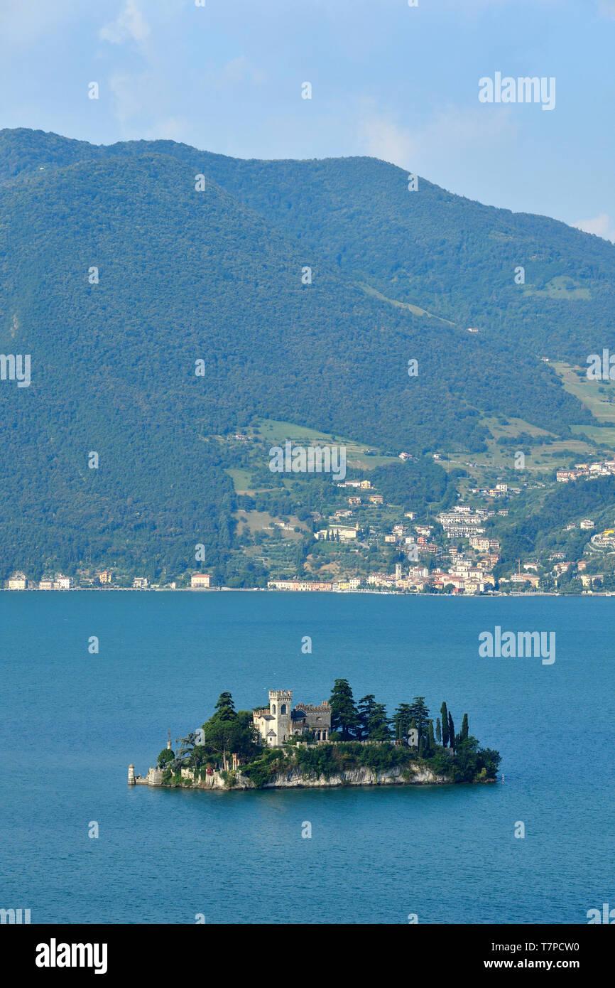 Italy, Lombardy, Iseo lake (Il Lago d'Iseo), Loreto Island - Stock Image