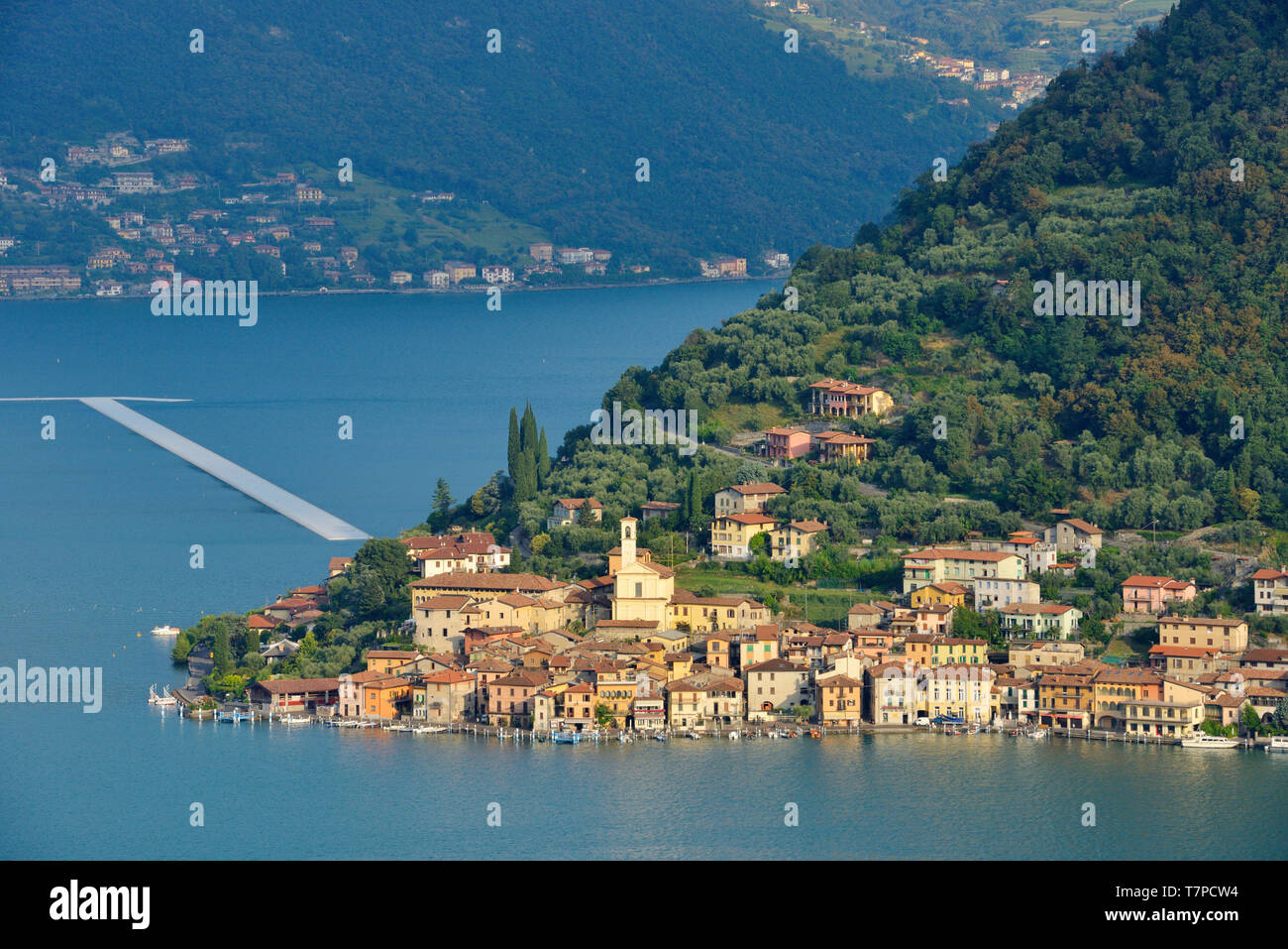 Italy, Lombardy, Iseo lake (Il Lago d'Iseo), Monte Isola island, Peschiera Maraglio village, The Floating Piers, Christo artist - Stock Image