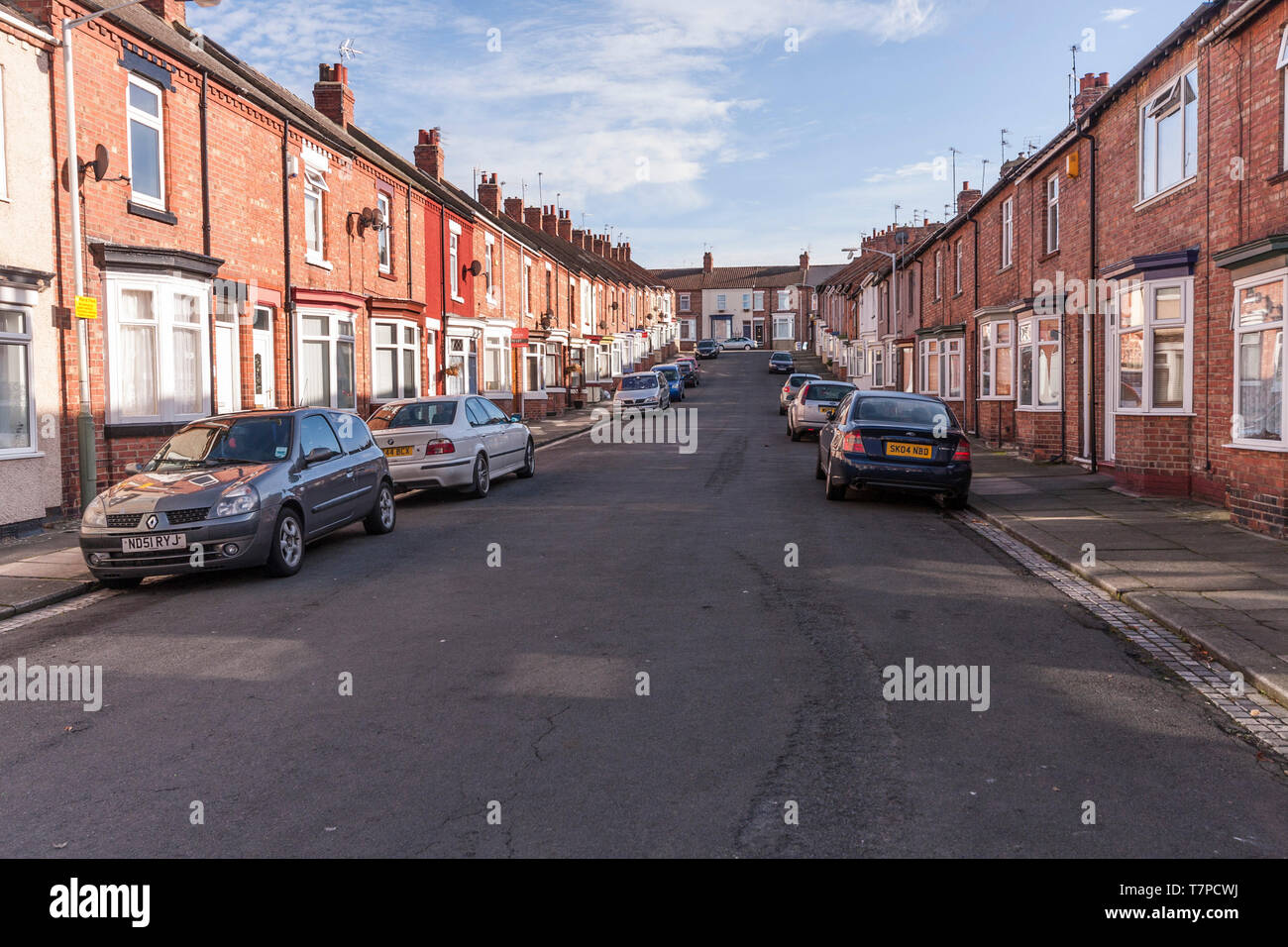 Terraced houses in Roslyn Street,Darlington,England,UK - Stock Image