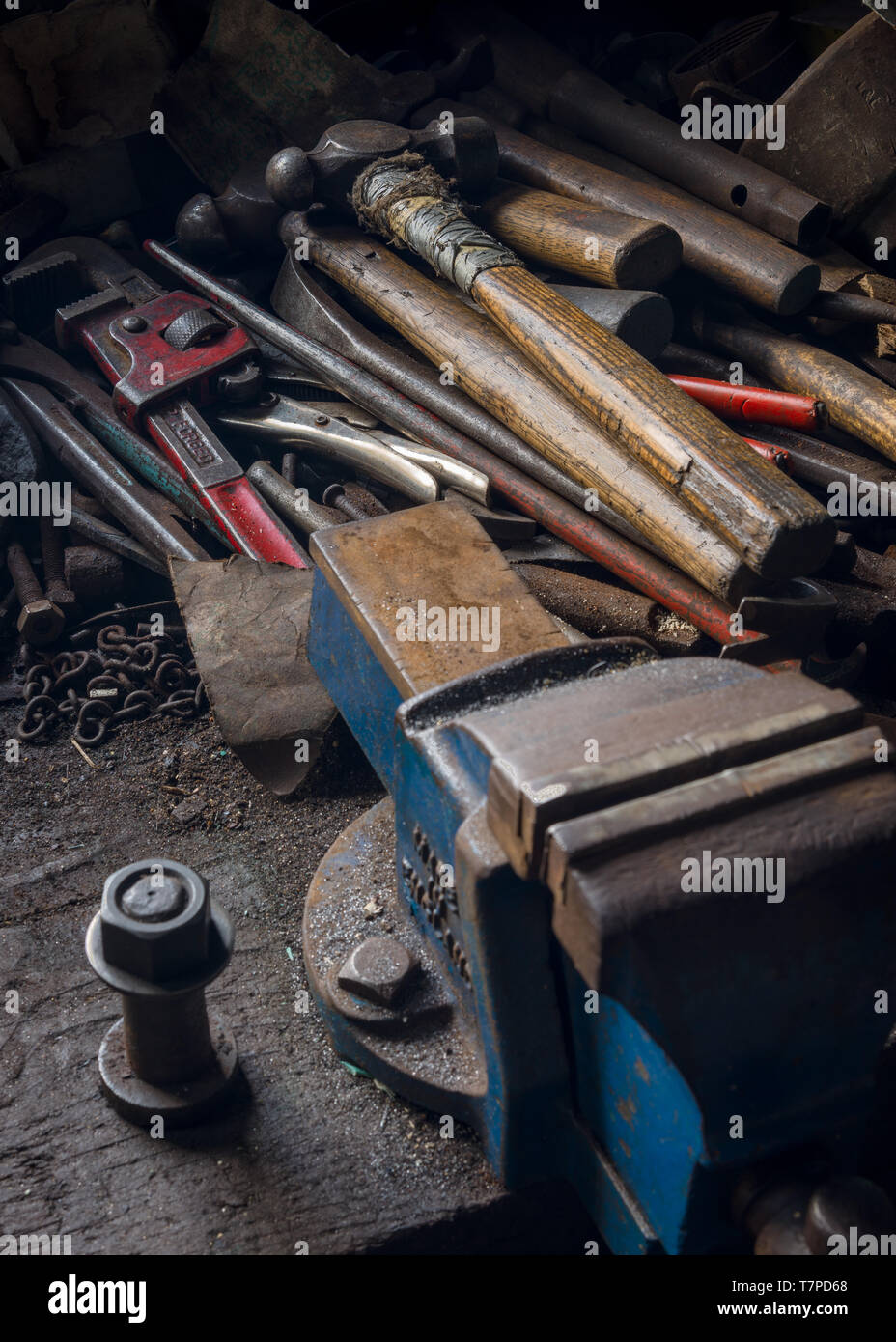 Fine A Bench Vice And An Assortment Of Old Tools On A Workbench Pabps2019 Chair Design Images Pabps2019Com