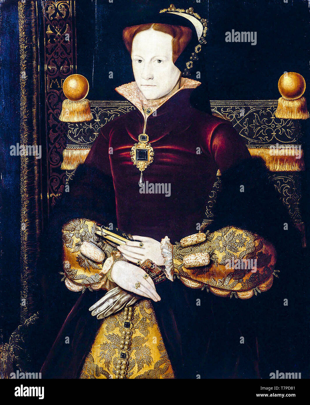 Mary Tudor, Queen of England, portrait painting after Antonis Mor, circa 1554 - Stock Image