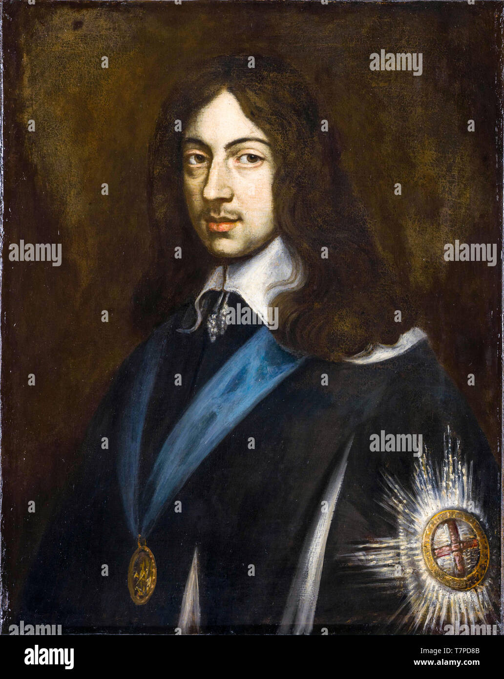 Portrait of King Charles II of England, painting after Jan van den Hoecke, 17th Century - Stock Image