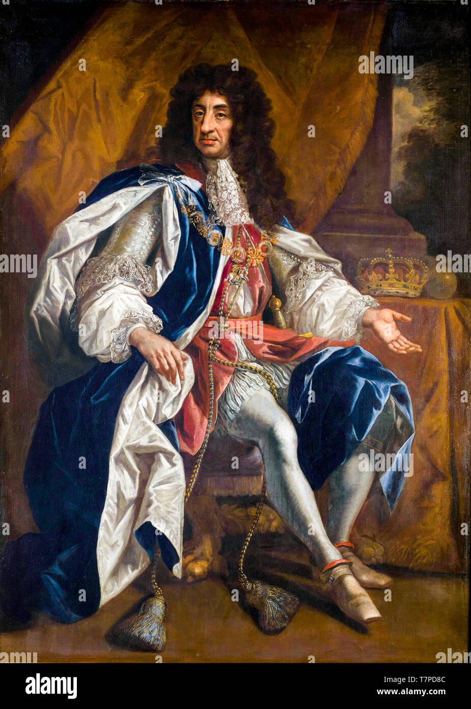 King Charles II of England, painting by Thomas Hawker, after 1660 - Stock Image