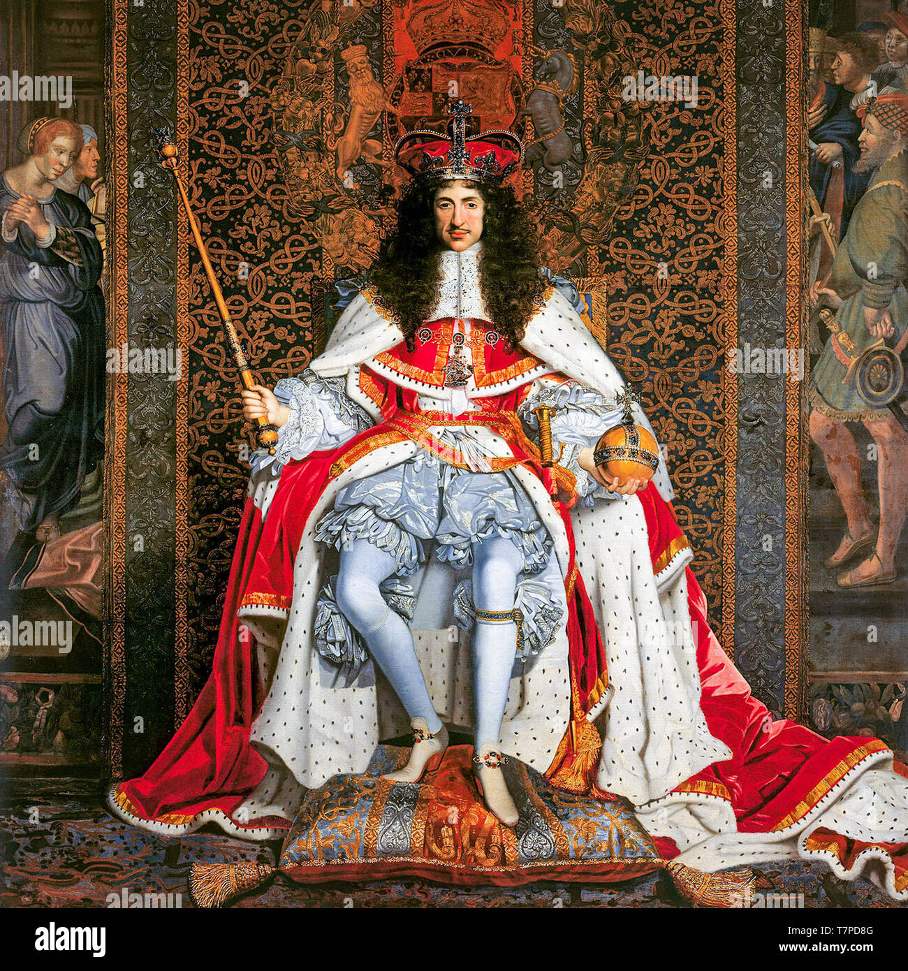 Charles II of England in Coronation robes, portrait painting by John Michael Wright, c. 1661 - Stock Image