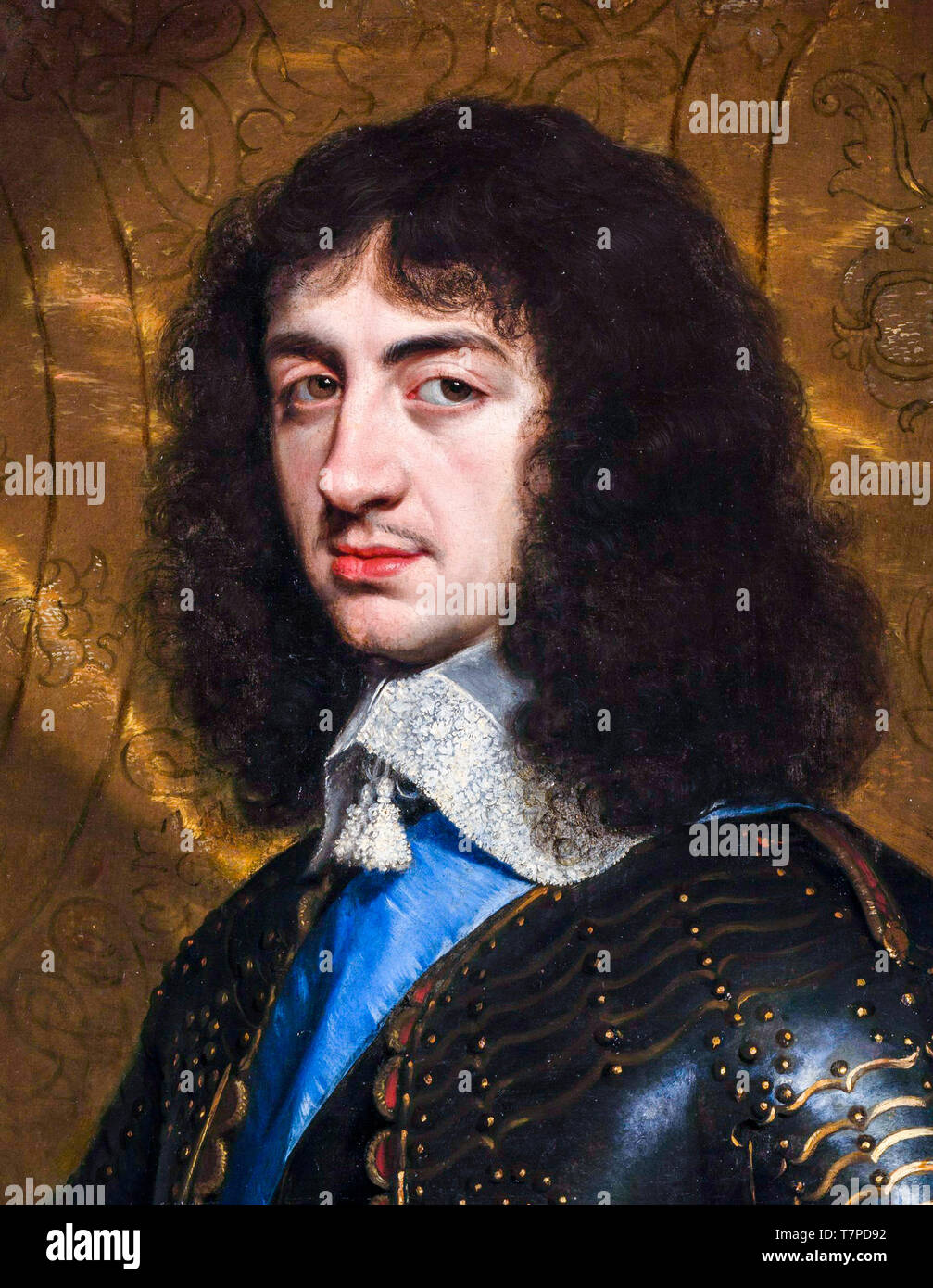 King Charles II of England (1630-1685), portrait, painting by Philippe de Champaigne 1653 - Stock Image