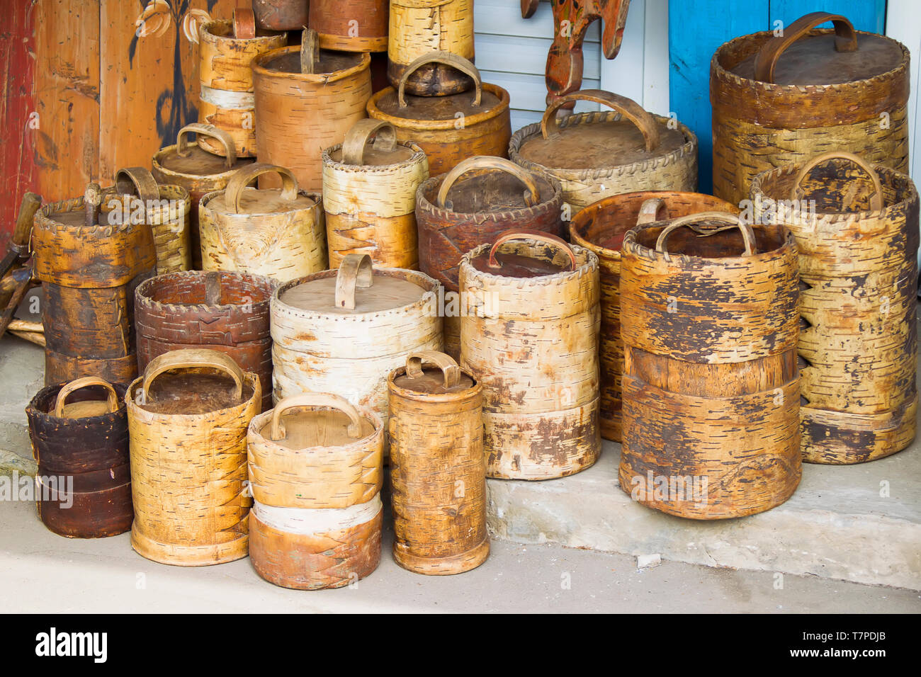 Ancient ancient birch baskets. Products from birch bark - Stock Image