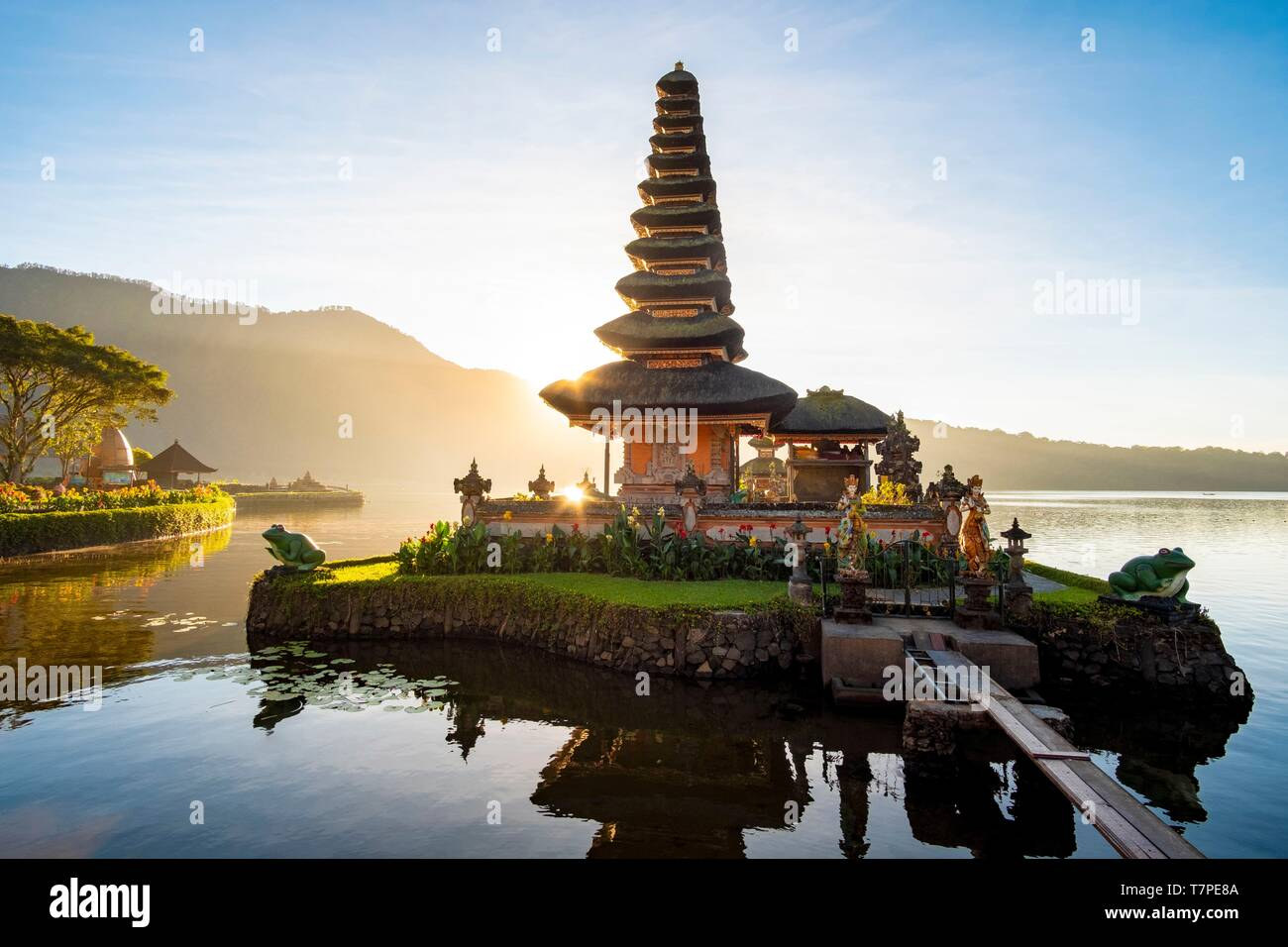 Indonesia, Bali, Center, Sunrise at Ulu Danu Bratan Temple Stock Photo