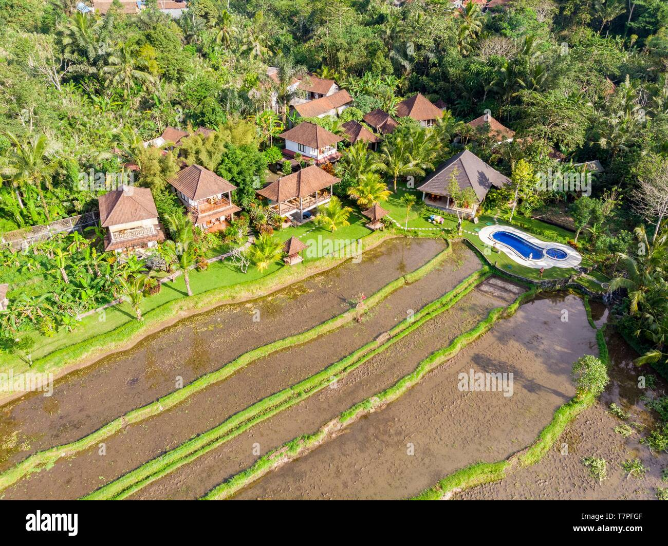 Indonesia East Bali Sidemen Rice Fields Great Mountain Views Villa Resort Aerial View Stock Photo Alamy