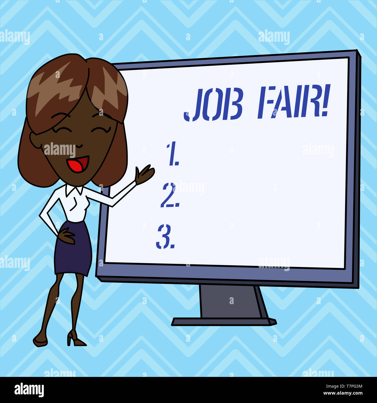 Handwriting text writing Job Fair. Conceptual photo event in which employers recruiters give information to employees - Stock Image