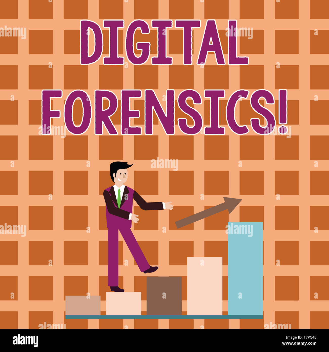 Word writing text Digital Forensics. Business photo showcasing investigation of material found in digital devices Smiling Businessman Climbing Colorfu - Stock Image
