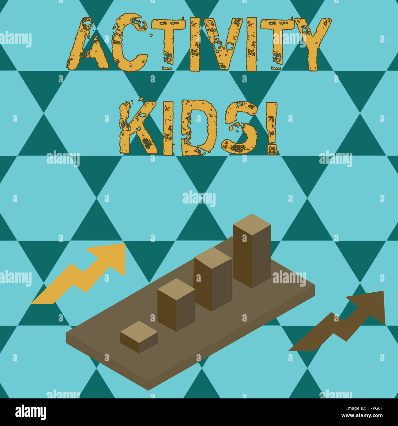 Text sign showing Activity Kids. Business photo text form of organized supervised often extracurricular recreation Colorful Clustered 3D Bar Chart Gra - Stock Image