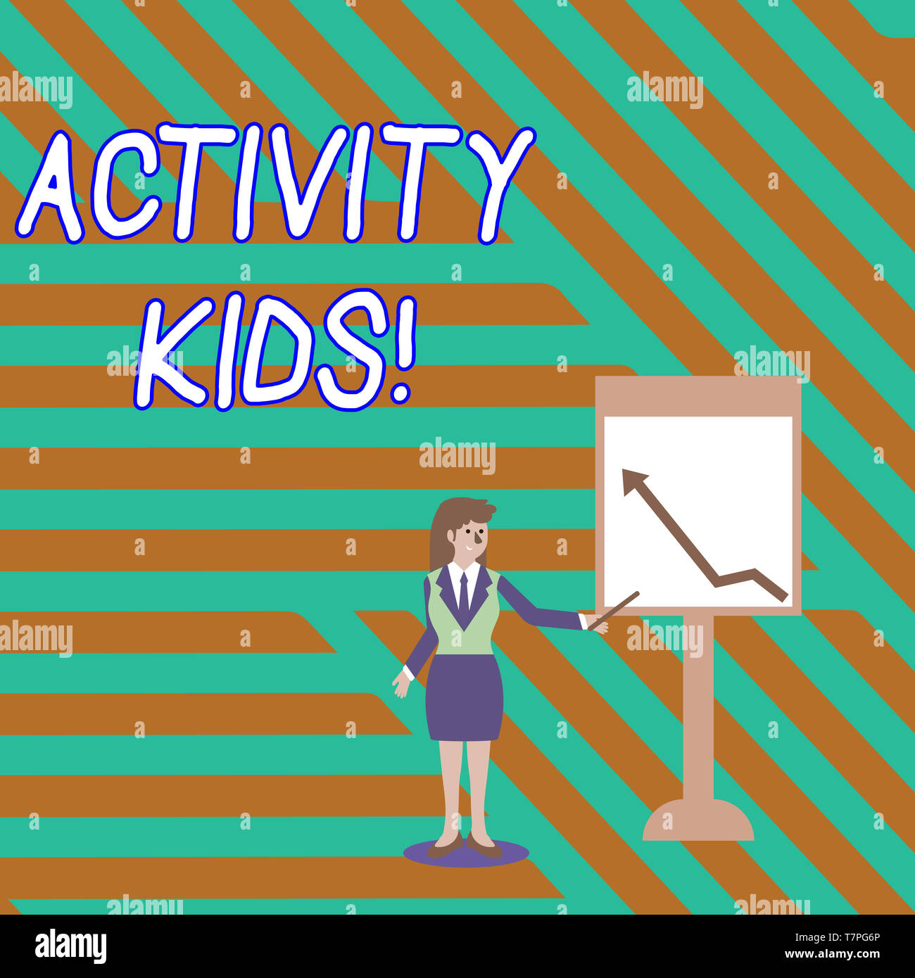 Word writing text Activity Kids. Business photo showcasing form of organized supervised often extracurricular recreation Businesswoman Holding Stick P - Stock Image