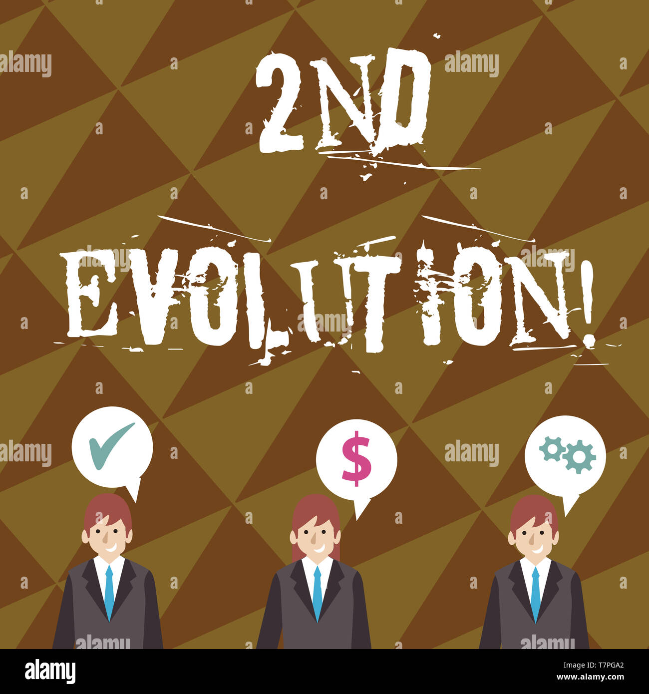 Writing note showing 2Nd Evolution. Business concept for change in the heritable features of biological populations Businessmen has Speech Bubble with - Stock Image