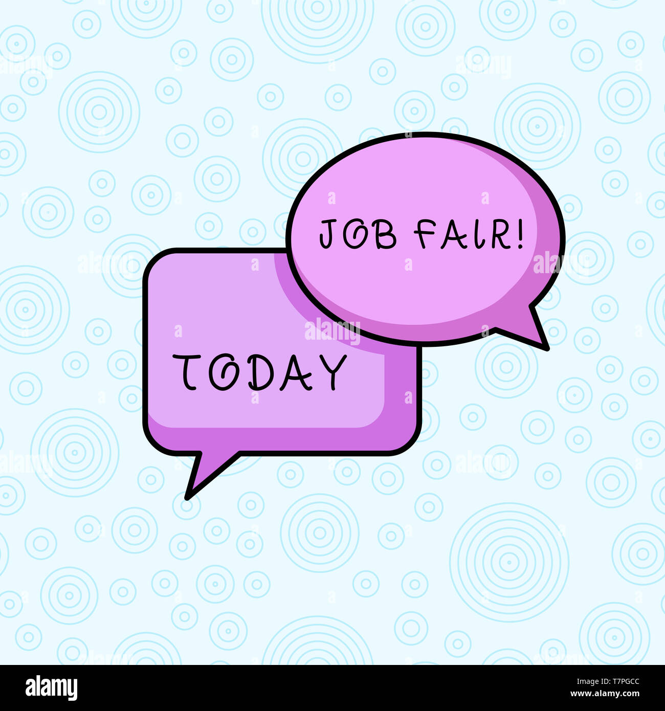 Text sign showing Job Fair. Business photo showcasing event in which employers recruiters give information to employees - Stock Image