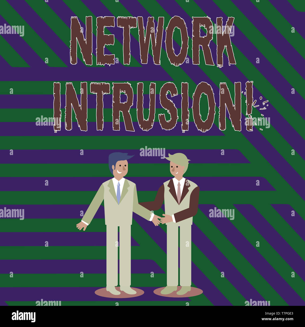 Handwriting text writing Network Intrusion. Conceptual photo device or software application that monitors a network Two Businessmen Standing, Smiling  - Stock Image