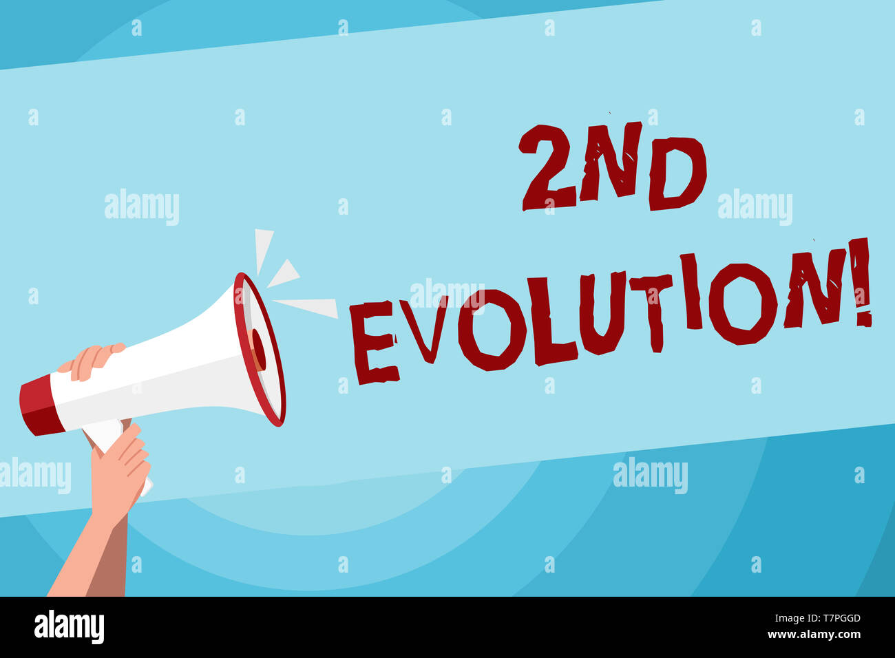 Text sign showing 2Nd Evolution. Business photo text change in the heritable features of biological populations Human Hand Holding Tightly a Megaphone - Stock Image