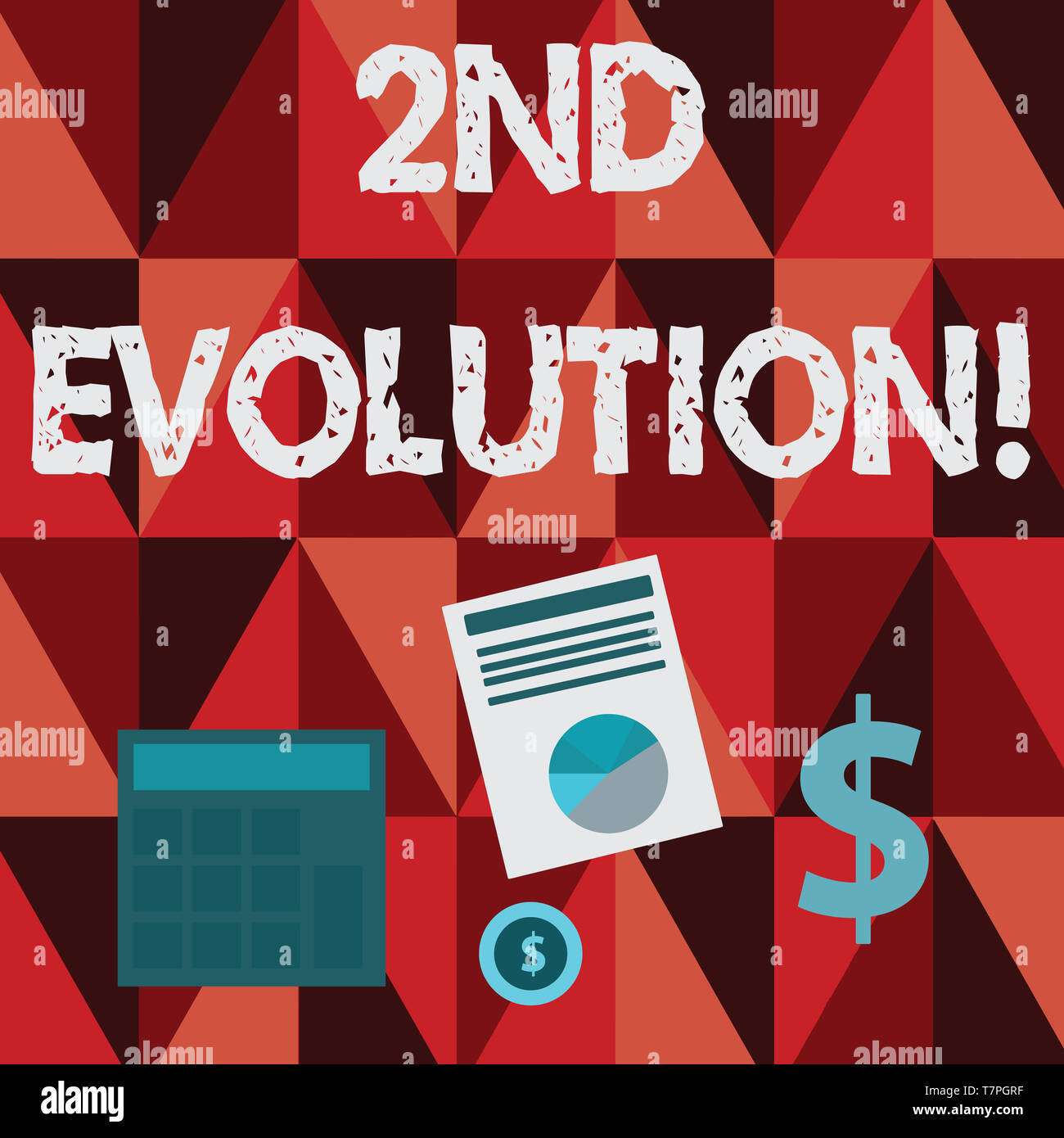 Conceptual hand writing showing 2Nd Evolution. Concept meaning change in the heritable features of biological populations Dollar Investment in Gold an - Stock Image
