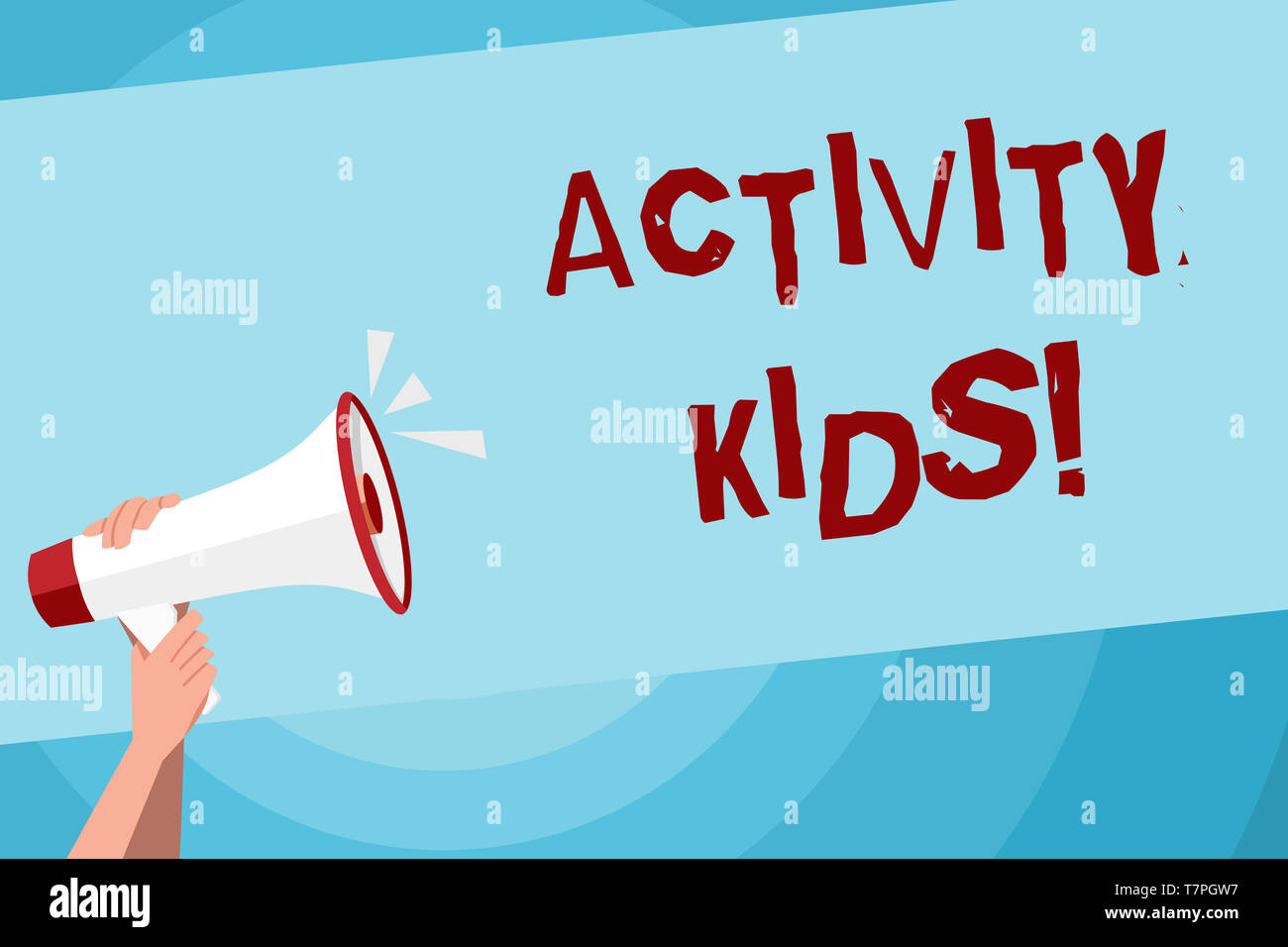 Text sign showing Activity Kids. Business photo text form of organized supervised often extracurricular recreation Human Hand Holding Tightly a Megaph - Stock Image