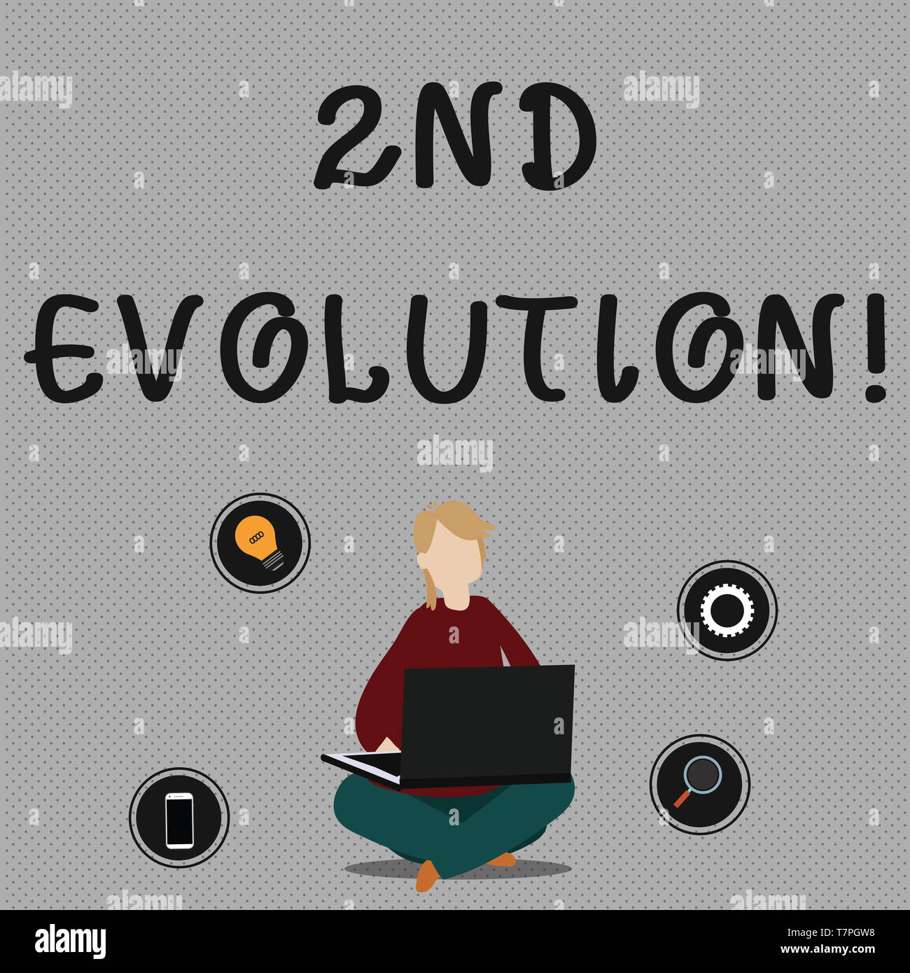 Conceptual hand writing showing 2Nd Evolution. Concept meaning change in the heritable features of biological populations Woman Sitting with Crossed L - Stock Image