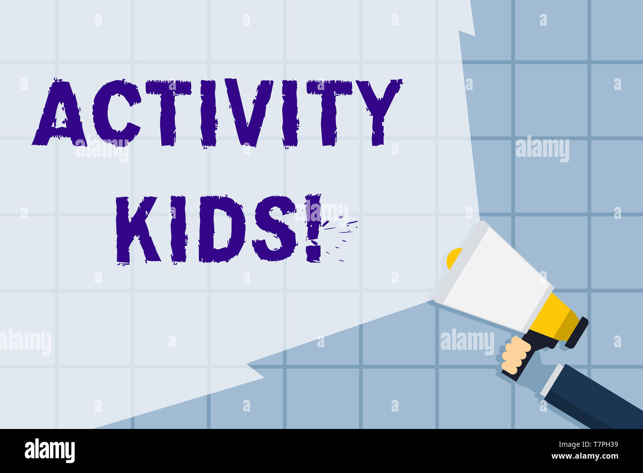 Conceptual hand writing showing Activity Kids. Concept meaning form of organized supervised often extracurricular recreation Hand Holding Megaphone wi - Stock Image