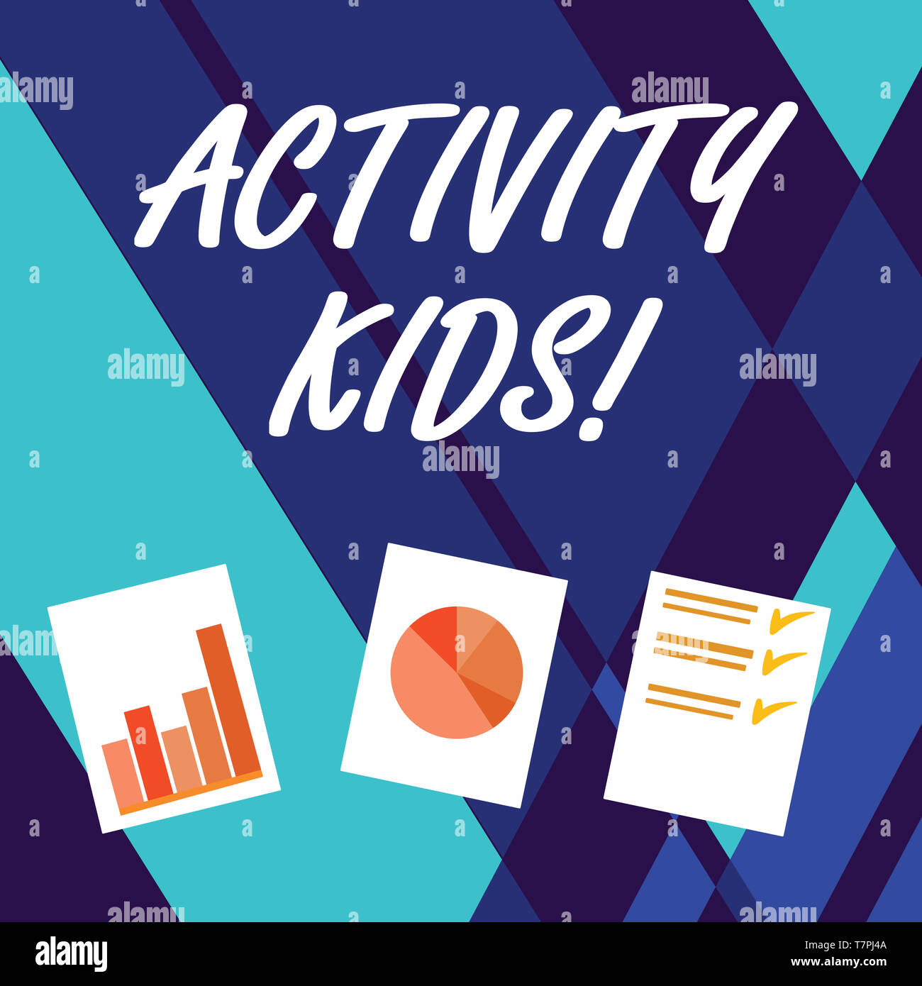 Handwriting text writing Activity Kids. Conceptual photo form of organized supervised often extracurricular recreation Presentation of Bar, Data and P - Stock Image