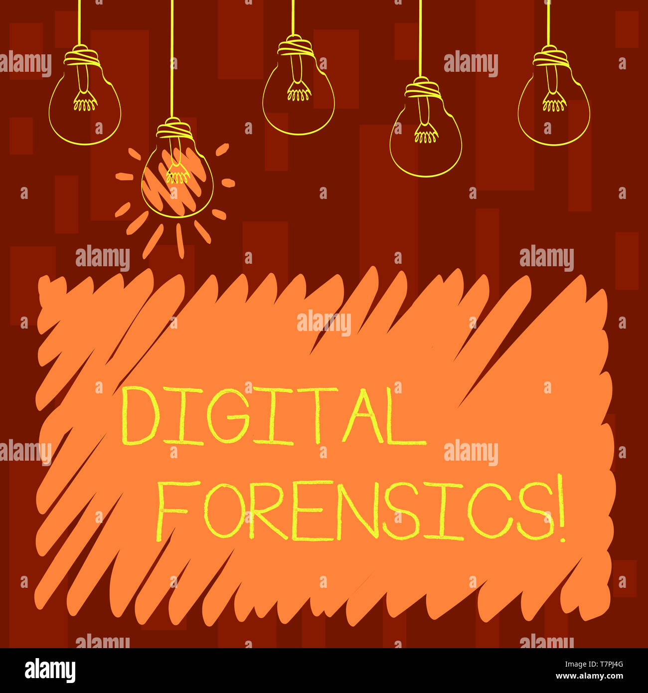 Text sign showing Digital Forensics. Business photo showcasing investigation of material found in digital devices Set of Transparent Bulbs Hanging wit - Stock Image