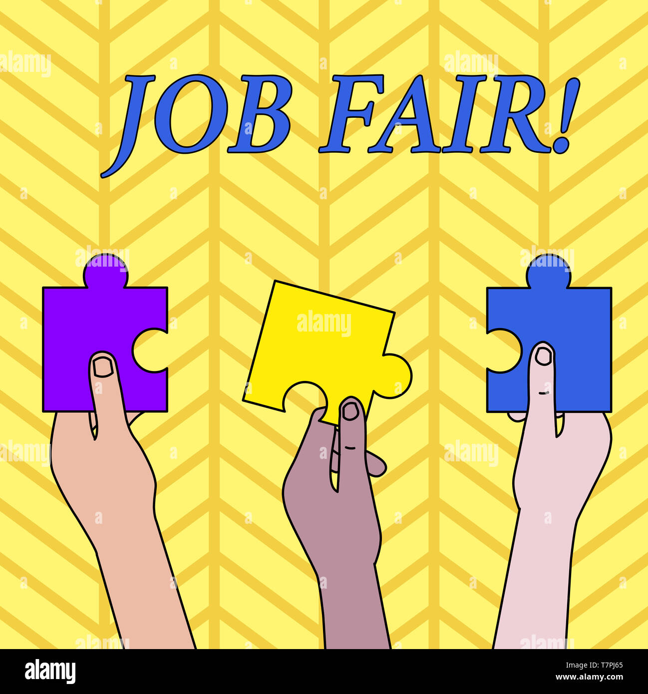 Conceptual hand writing showing Job Fair. Concept meaning event in which employers recruiters give information to employees - Stock Image