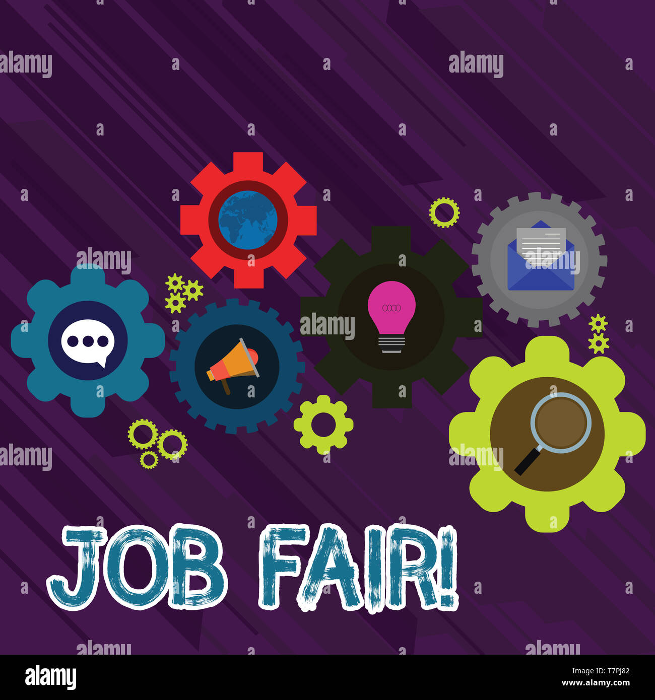 Text sign showing Job Fair. Business photo text event in which employers recruiters give information to employees Set of Global Online Social Networki - Stock Image