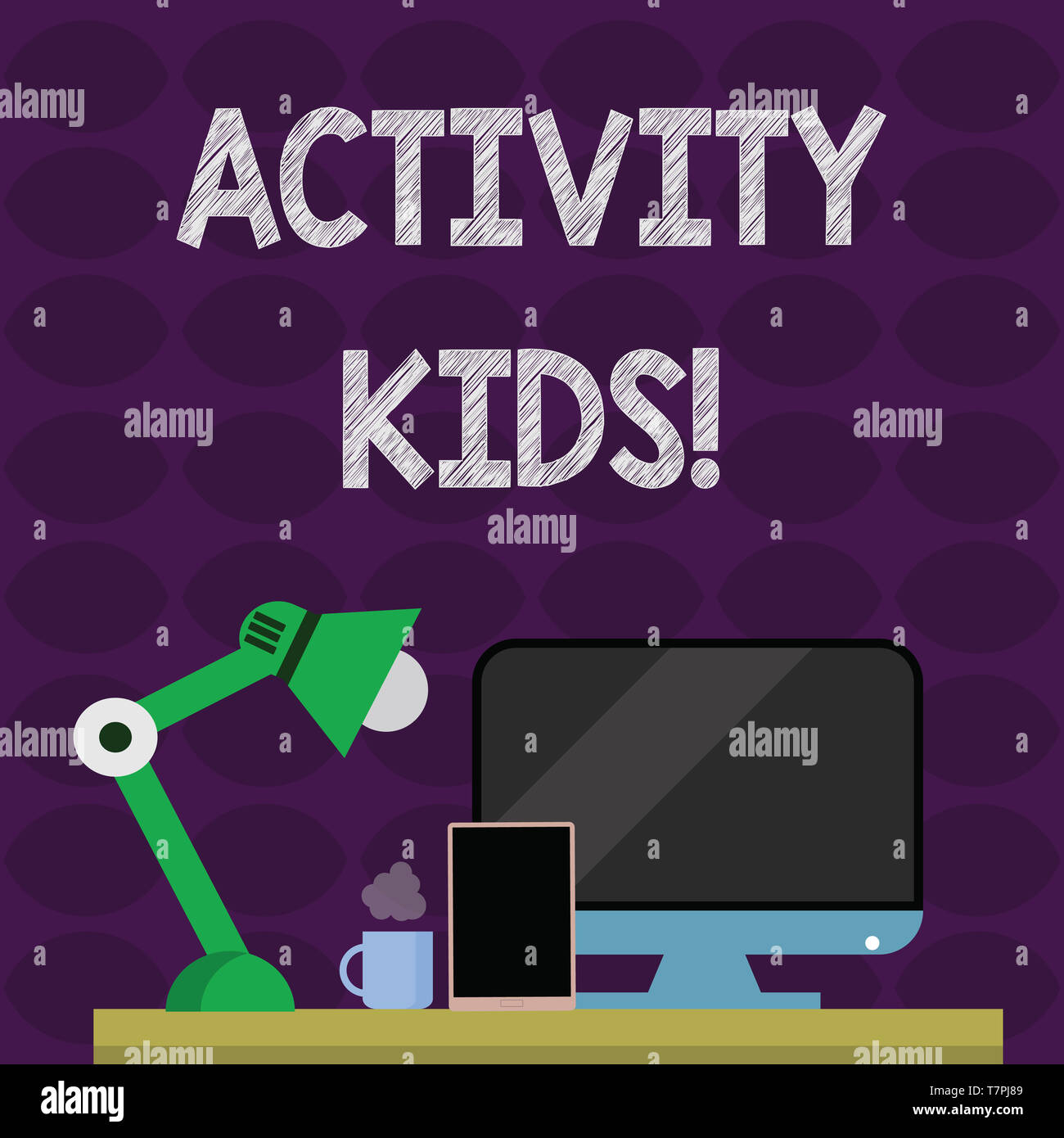 Text sign showing Activity Kids. Business photo text form of organized supervised often extracurricular recreation Arrangement of Workspace for Nights - Stock Image