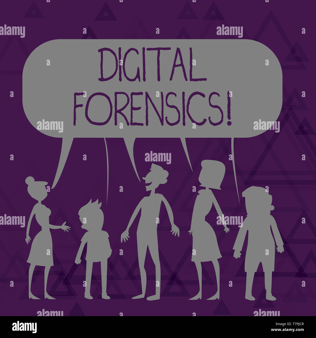 Writing note showing Digital Forensics. Business concept for investigation of material found in digital devices Figure of People Talking and Sharing C - Stock Image