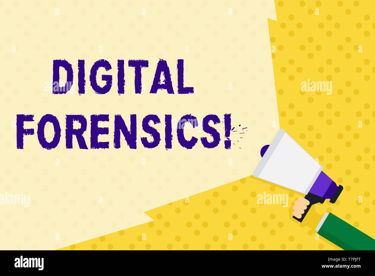 Text sign showing Digital Forensics. Business photo text investigation of material found in digital devices Hand Holding Megaphone with Blank Wide Bea - Stock Image