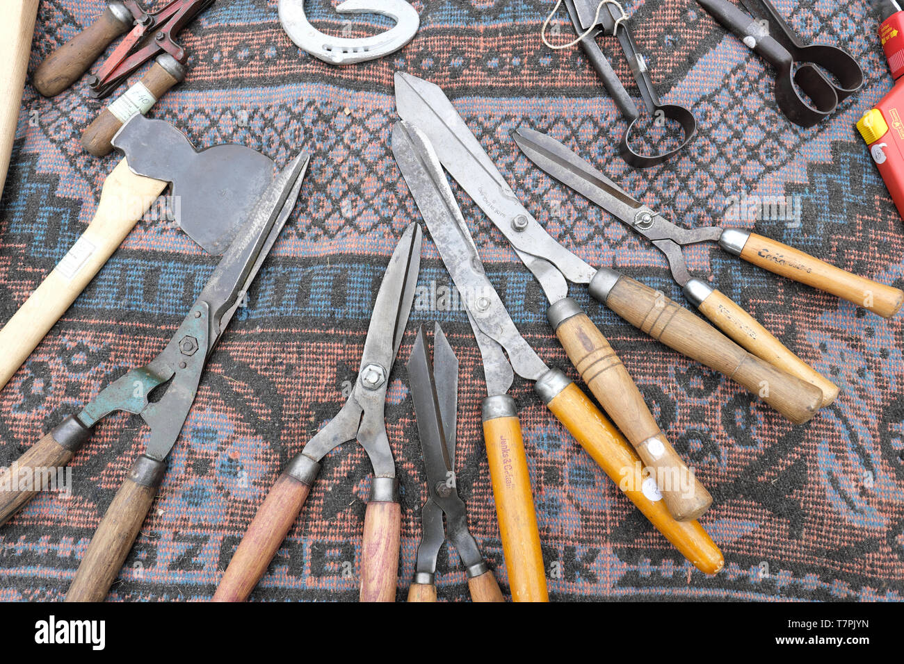 Secondhand used tools for sale at car boot sale UK 2019 - Stock Image
