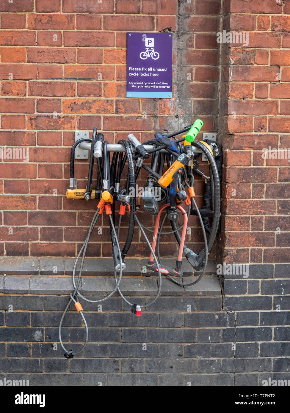 Cycle parking - holder for storing Cycle padlocks when not in use - Stock Image