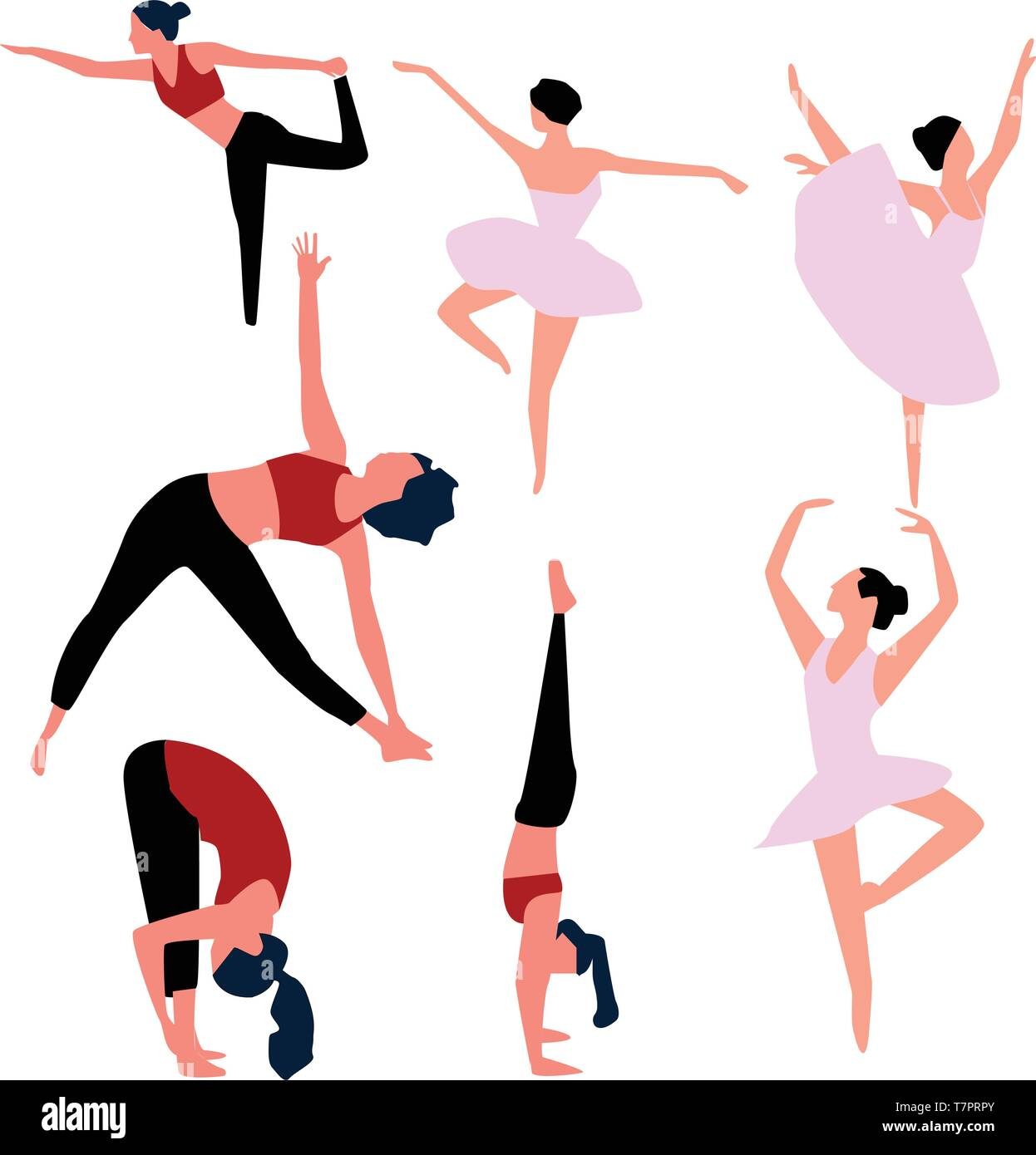 Set of ballet dancers isolated on white. Vector . - Stock Vector