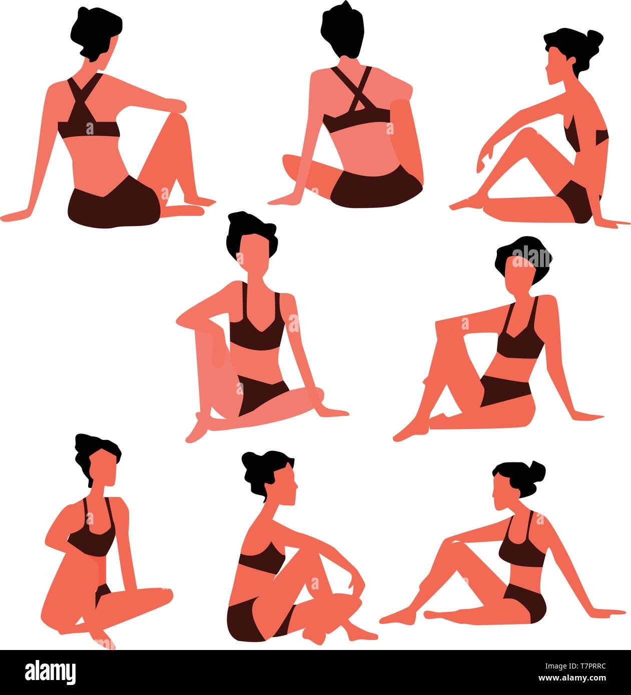 Collection of girls sitting in beach. Vector. - Stock Vector