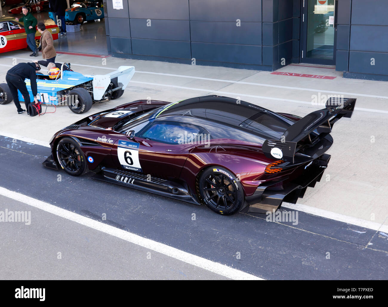Side view of a  2018 Aston Martin Vulcan AMR Pro in  the pit lane during the 2019 Silverstone Classic Media Day - Stock Image