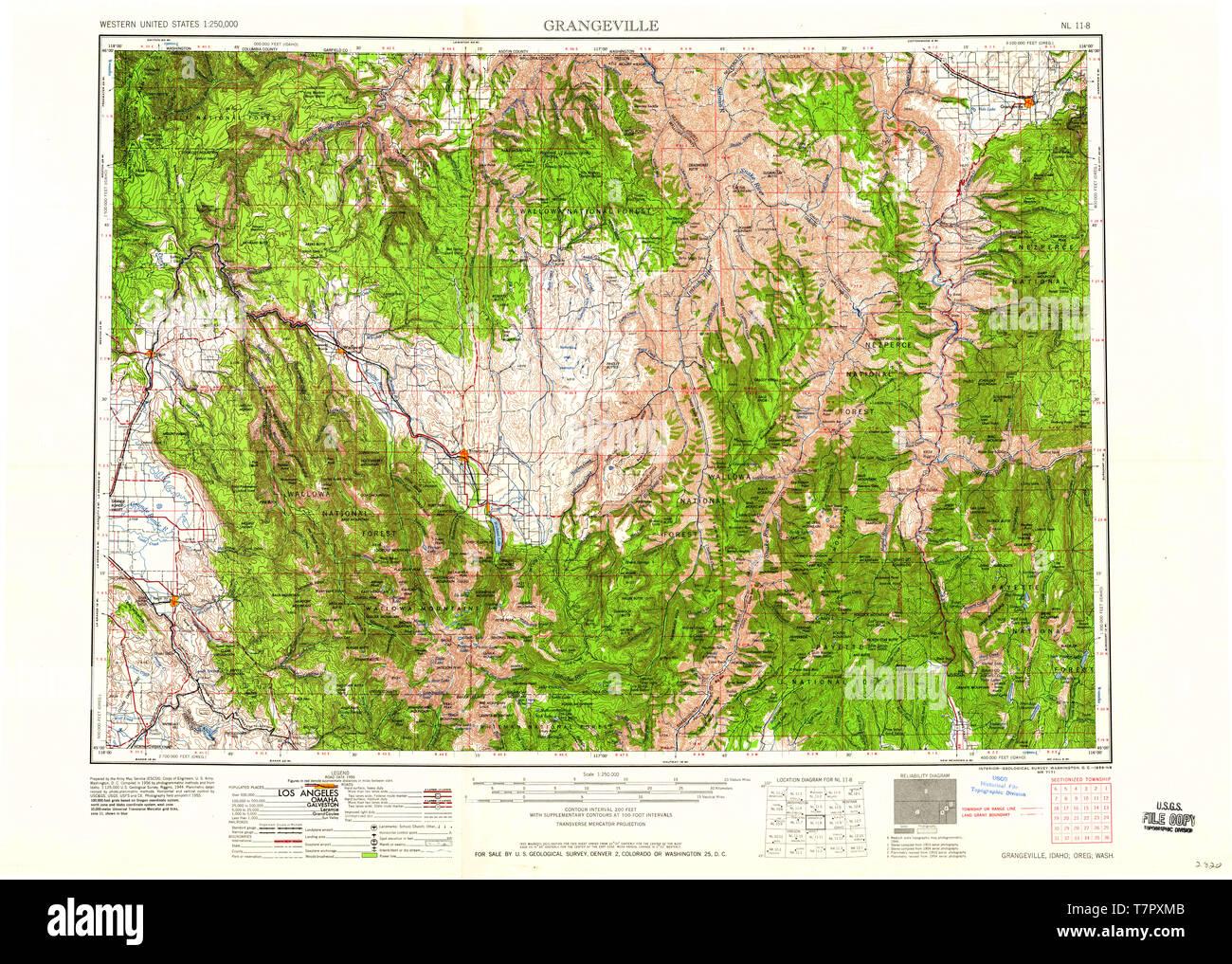 USGS TOPO Map Idaho ID Grangeville 239636 1959 250000 ...