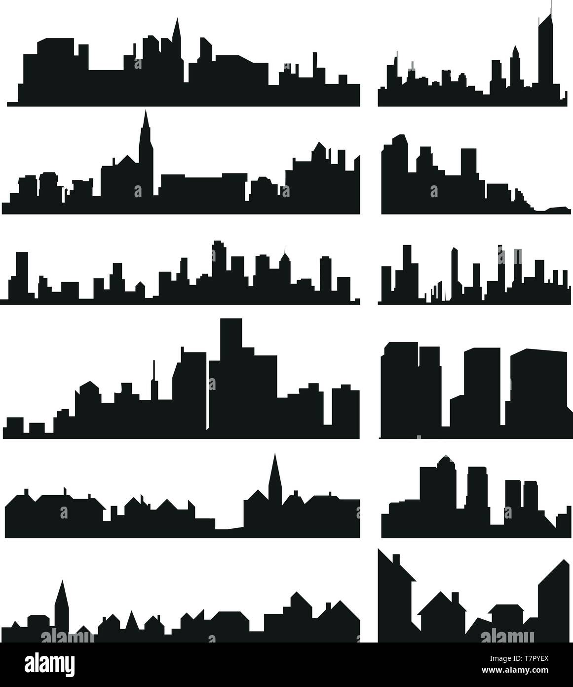 Skylines icons set - Stock Vector