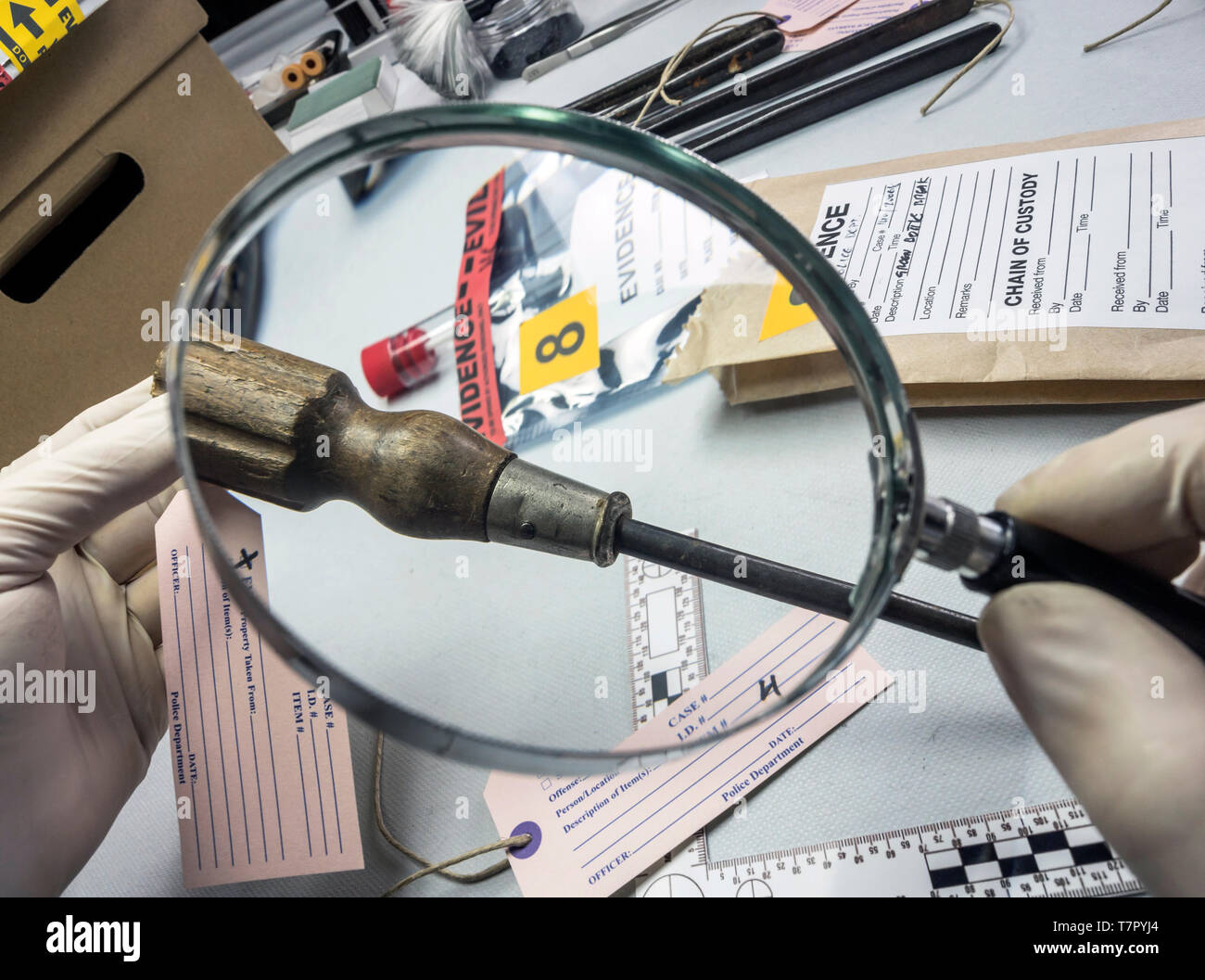 Expert Police Examines With Magnifying Glass A Screwdriver In Laboratory Forensic Equipment Conceptual Image Stock Photo Alamy