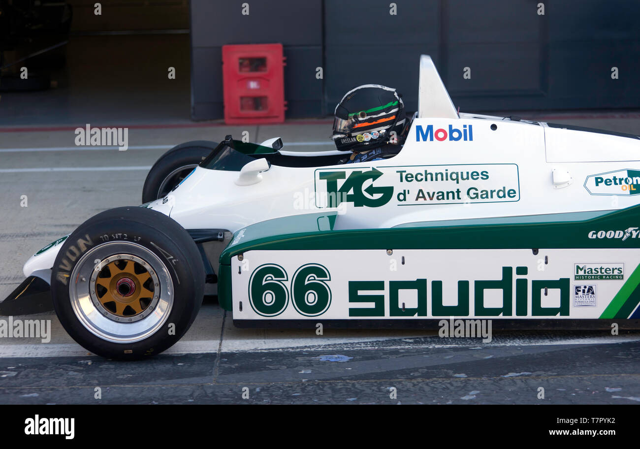 Close-up of Tommy Dreelan, sitting in the cockpit of his 1982, Williams FW08 Historic Formula One Car, during the 2019 Silverstone Classic Media Day - Stock Image