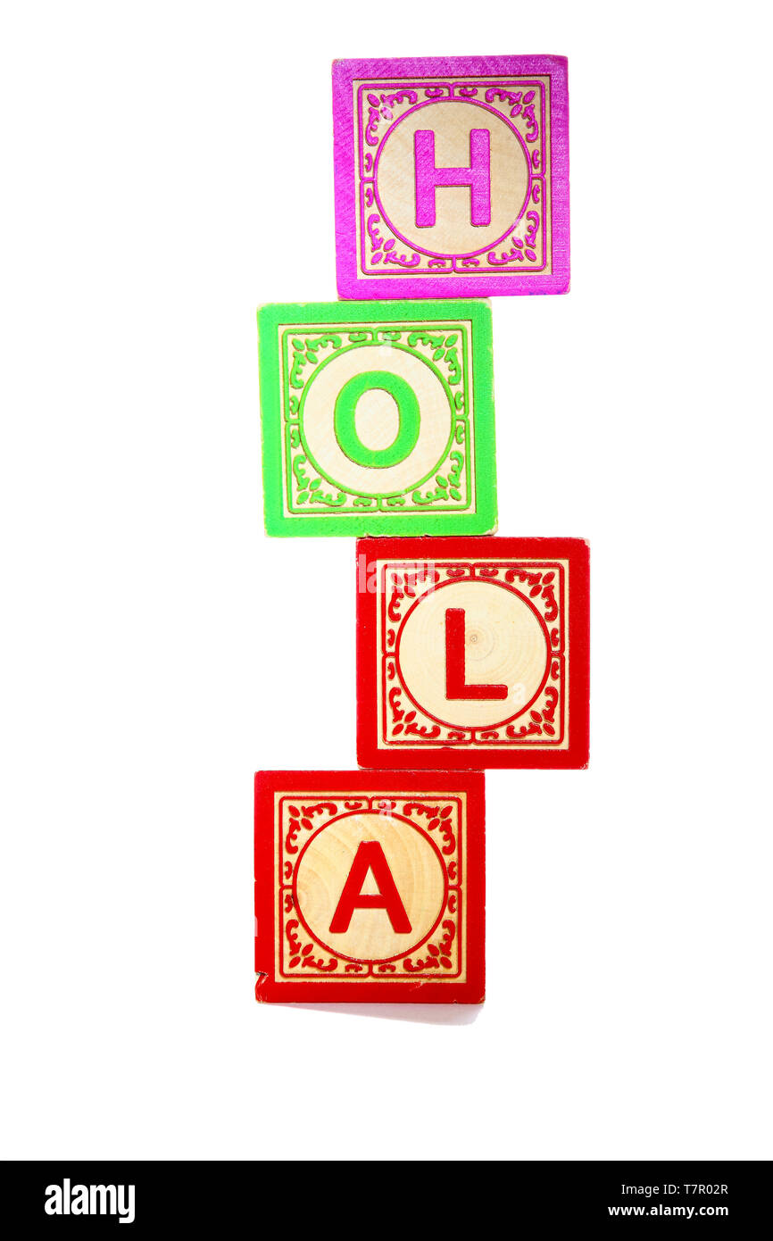 Wooden letter blocks spelling out the spanish word for hello Hola - Stock Image
