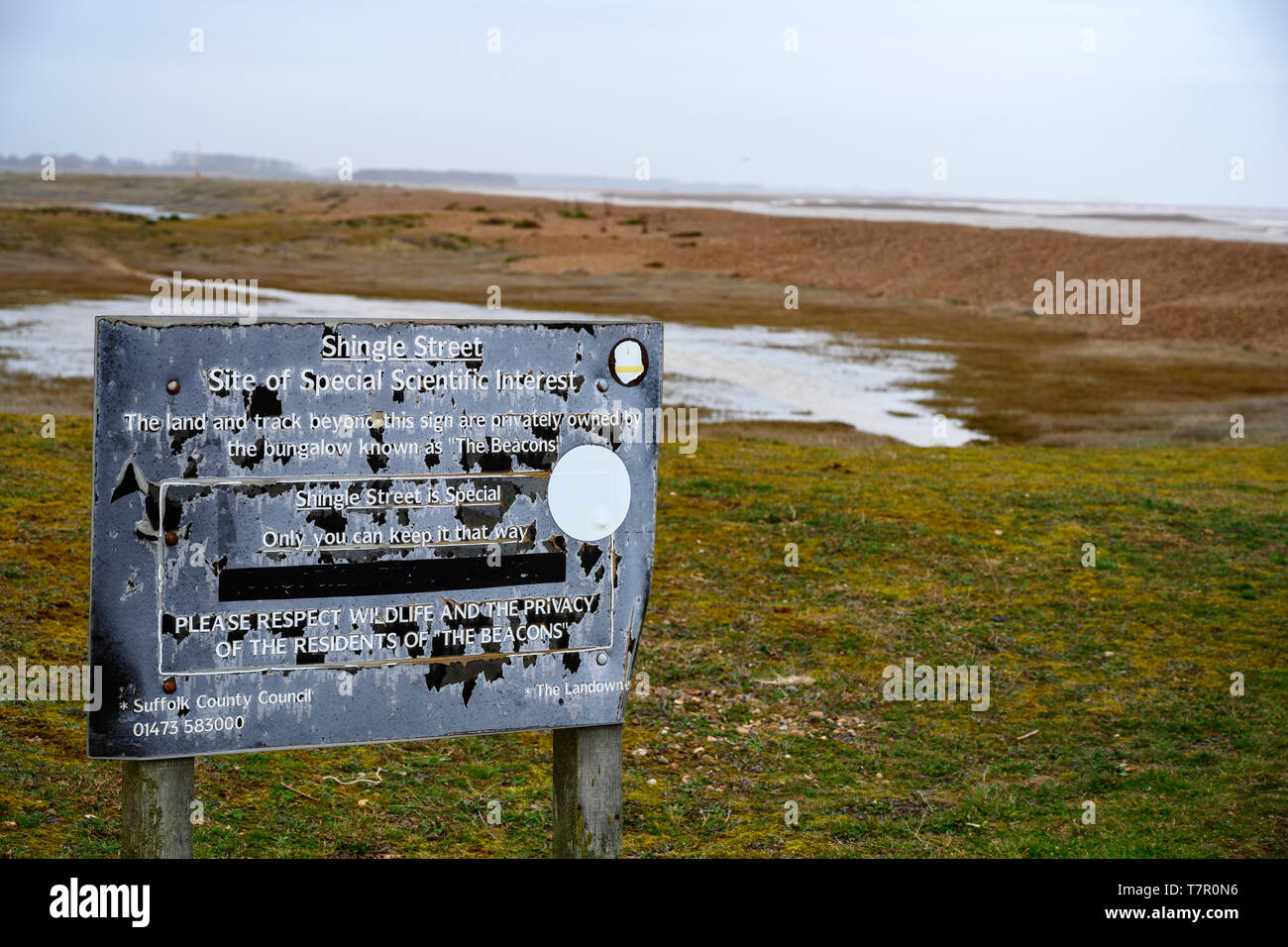 Shingle Street Site of special scientific interest - Stock Image