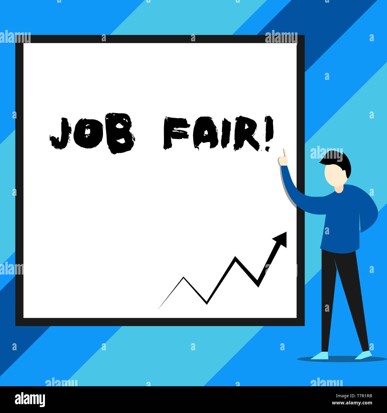 Text sign showing Job Fair. Business photo text event in which employers recruiters give information to employees - Stock Image