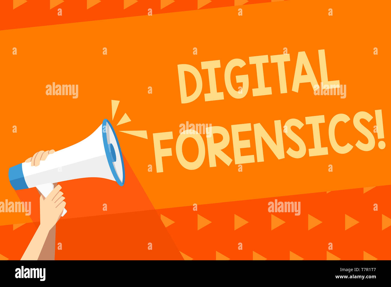 Writing note showing Digital Forensics. Business concept for investigation of material found in digital devices Human Hand Holding Megaphone with Soun - Stock Image